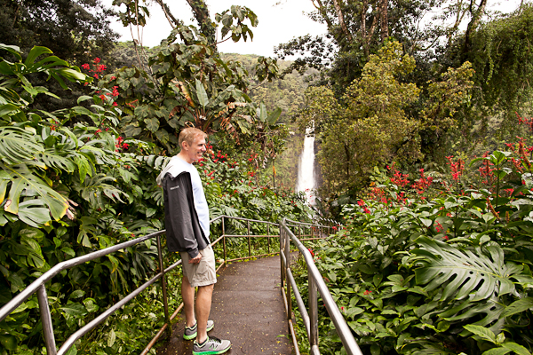 On the trail at Asaka Falls State Park in Hawaii