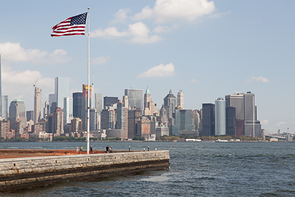 View of Manhattan from the edge of Ellis Island