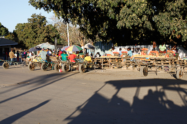 Shadow of our open-air SUV around a market in Livingstone, Zambia