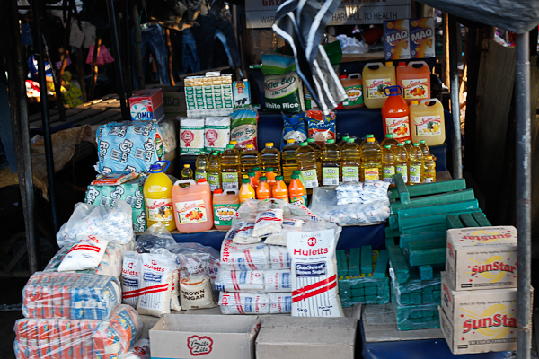 Makeshift stall selling foodstuff at a market in Livingstone, Zambia