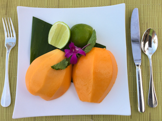 Papaya with lime became my breakfast ritual at the Four Seasons Hualalai