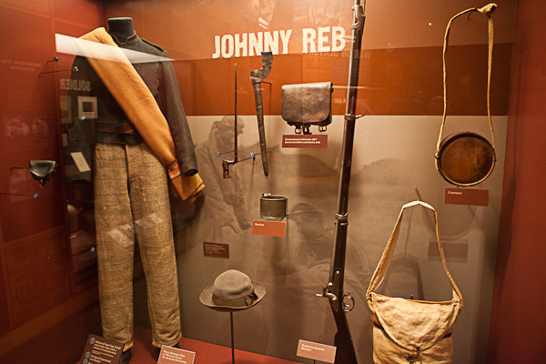 Soldier uniforms at Gettysburg National Military Park Museum and Visitor Center
