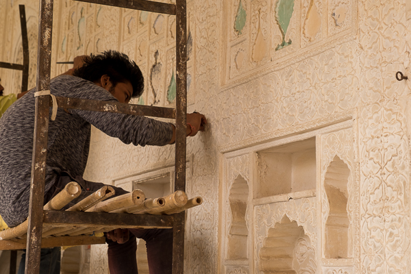 Restoration work at Amer Palace