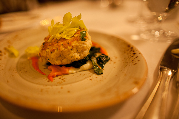Top-notch crab cakes from Fossett's at Keswick Hall