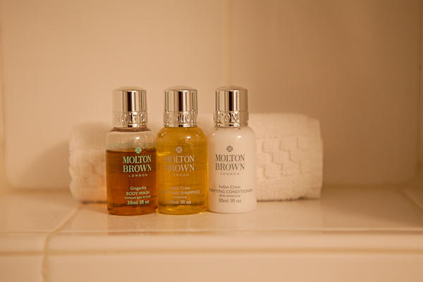 Bathroom amenities at Keswick Hall
