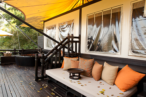 Balcony at Four Seasons Tented Camp Golden Triangle