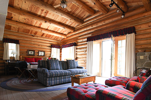 Inside look of cabin at Jenny Lake Lodge