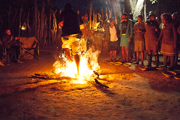 Fire walk at Vumbura Plains Camp