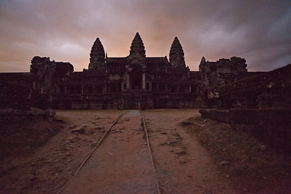 Our early morning approach to Angkor Wat begins in the dark