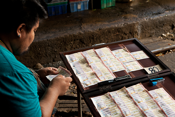 Lottery tickets for sell on the outskirts of Bangkok