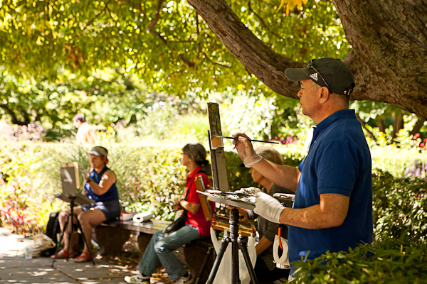 Artists at Work in Central Park Conservatory Garden