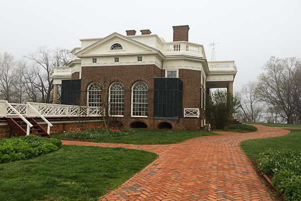 Side view of Monticello in Virginia